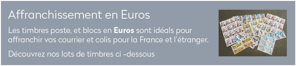 Les timbres poste, et blocs en Euros sont idéals pour affranchir vos courrier et colis pour la France et l'étranger.