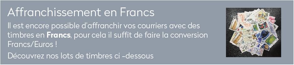 Il est encore possible d'affranchir vos courriers avec des timbres en Francs, pour cela il suffit de faire la conversion Francs/Euros !